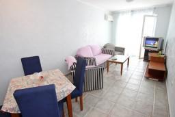 Гостиная. Черногория, Рафаиловичи : Апартамент с 2-мя спальнями и балконом с шикарным видом на море, на первой линии в Рафаиловичи