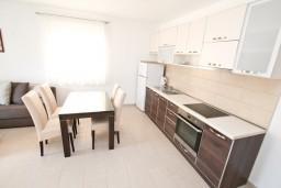 Кухня. Черногория, Дженовичи : Современный апартамент с отдельной спальней, с балконом с видом на море, 20 метров до пляжа