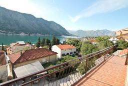Балкон. Черногория, Доброта : Апартамент для 5 человек, с 2-мя отдельными спальнями, с большой гостиной, с балконом с шикарным видом на море