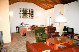 Гостиная. Черногория, Будва : Дом в Лапчичи с просторной гостиной, с 4-мя отдельными спальнями, с 2-мя ванными комнатами, с большой террасой с шикарным видом на море, с бассейном, с камином, с местом для барбекю