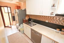 Кухня. Черногория, Петровац : Апартамент с двумя гостиными, тремя отдельными спальнями, двумя ванными комнатами, террасой