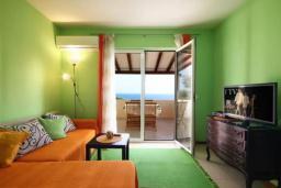 Гостиная. Черногория, Петровац : Двухэтажная вилла с бассейном и видом на море, 2 гостиные, 4 спальни, 2 ванные комнаты, Wi-Fi