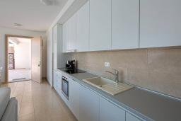 Кухня. Черногория, Крашичи : Шикарная вилла со своим пляжем, 2 спальни и 2 гостиные со спальными местами, 2 ванные комнаты, большая терраса с шикарным видом на море, барбекю, 2 парковочных места, Wi-Fi