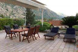 Терраса. Черногория, Ораховац : Апартаменты в 30 метрах от моря, большая гостиная, 2 спальни, парковочное место, Wi-Fi, общий бассейн на три дома.