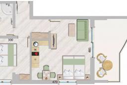Черногория, Бечичи : Современный апартамент с гостиной, отдельной спальней и балконом с видом на море, в комплексе с большим бассейном