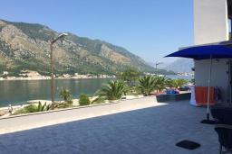 Терраса. Черногория, Доброта : Апартамент с гостиной, отдельной спальней и террасой с видом на море, в 20 метров до пляжа