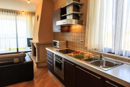 Кухня. Черногория, Святой Стефан : Современная вилла с бассейном и двориком, 2 гостиные, 4 спальни, 4 ванные комнаты, барбекю, гараж, Wi-Fi
