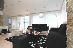Гостиная. Черногория, Муо : Современная вилла с бассейном и шикарным видом на Бока-Которскую бухту, 20 метров до пляжа, 4 спальни, 4 ванные комнаты, патио, барбекю, парковка, Wi-Fi