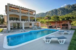 Фасад дома. Черногория, Зеленика : Прекрасная вилла с бассейном и зеленым двориком с барбекю, 2 гостиные, 3 спальни, 2 ванные комнаты, парковка, Wi-Fi