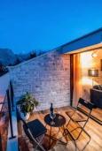Балкон. Черногория, Прчань : Шикарный апартамент с гостиной, отдельной спальней и балконом с шикарным видом на море