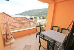 Вид на море. Черногория, Игало : Большой апартамент с гостиной, отделенной кухней, отдельной спальней и балконом с видом на море