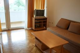 Гостиная. Черногория, Петровац : Апартамент с балконом в 250 метрах от моря