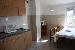 Кухня. Черногория, Жанице / Мириште : Апартамент для 5 человек с двумя отдельными спальнями, с балконом и видом на сад