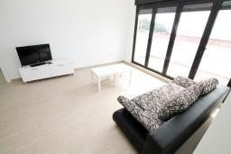Гостиная. Черногория, Петровац : Современный апартамент с отдельной спальней, с террасой с шикарным видом на море