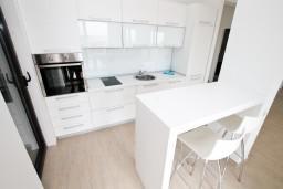 Кухня. Черногория, Петровац : Современный апартамент с отдельной спальней, с террасой с шикарным видом на море