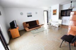 Гостиная. Черногория, Крашичи : Апартамент для 4-6 человек, 2 отдельные спальни, с террасой с шикарным видом на море, 10 метров до пляжа