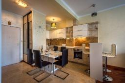 Кухня. Черногория, Рафаиловичи : Апартамент в 10 метрах от пляжа с гостиной, двумя спальнями и балконом с шикарным видом на море