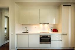 Кухня. Черногория, Тиват : Роскошный апартамент с гостиной, отдельной спальней и балконом
