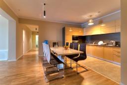 Кухня. Черногория, Будва : Современный апартамент с гостиной, четырмя спальнями, тремя ванными комнатами и балконом с видом на море