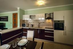 Кухня. Черногория, Рафаиловичи : Новый апартамент возле пляжа с просторной гостиной, тремя спальнями, двумя ванными комнатами и большой террасой с шикарным видом на море