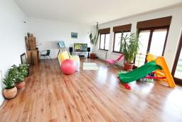 Гостиная. Черногория, Нивице : Дом на берегу моря с отдельным входом, 4 спальни, 2 ванные, огромная гостиная с балконом и шикарным видом на море. Большая терраса на заднем дворе с барбекю. Приватный пляж с лежаками.