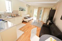 Кухня. Черногория, Ораховац : Апартамент с отдельной спальней, с балконом с видом на море, 80 метров до пляжа