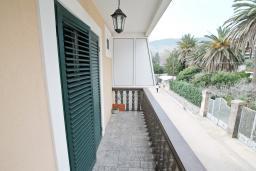 Балкон. Черногория, Игало : Четырёхместная студия с балконом в Игало, с лежаками и зонтиком на частном пляже