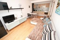 Гостиная. Черногория, Пржно / Милочер : Современный апартамент для 4-6 человек, с 2-мя отдельными спальнями, с большой гостиной, с балконом