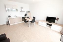 Гостиная. Черногория, Герцег-Нови : Просторный современный апартамент с 1 спальней, с террасой и шикарным видом на море
