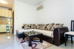Гостиная. Черногория, Дженовичи : Апартамент в 20 метрах от пляжа, с гостиной и двумя отдельными спальнями