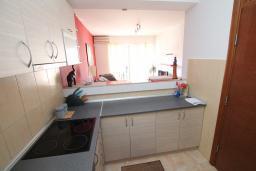 Кухня. Черногория, Будва : Апартамент с гостиной, отдельной спальней и большим балконом.