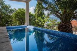 Бассейн. Черногория, Крашичи : Прекрасная вилла с бассейном и шикарным видом на море, 2 гостиные, 3 спальни, 5 ванных комнат, сад