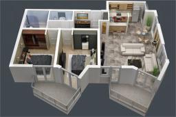 Черногория, Доброта : Апартамент в 50 метрах от пляжа, большая гостиная, две спальни, балкон с видом на море