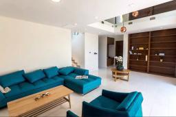 Гостиная. Черногория, Дженовичи : Шикарная вилла с бассейном и видом на море, 5 спален, 3 ванные комнаты, камин, сауна, Wi-Fi