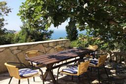 Терраса. Черногория, Святой Стефан : Прекрасная вилла с бассейном и зеленым двориком с барбекю, 4 спальни, 3 ванные комнаты, парковка, Wi-Fi