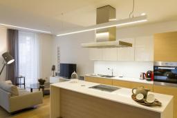 Кухня. Черногория, Будва : Роскошный пентхаус с просторной гостиной, тремя спальнями, двумя ванными комнатами и большой террасой с шикарным видом нам море