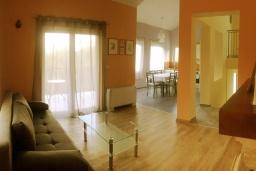 Гостиная. Черногория, Радовичи : Прекрасная вилла с зеленым двориком недалеко от пляжа, 4 спальни, 3 ванные комнаты, барбекю, парковка, Wi-Fi