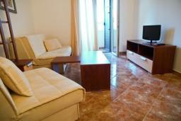 Гостиная. Черногория, Петровац : Апартамент с отдельной спальней, с балконом и оборудованной кухней