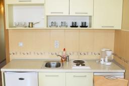 Кухня. Черногория, Игало : Комфортабельный апартамент со всеми удобствами для четверых с балконом и видом на море.