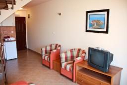Гостиная. Черногория, Бечичи : Двухэтажный апартамент с уютным балкончиком и живописным видом на море