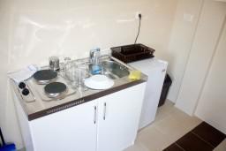 Кухня. Черногория, Рафаиловичи : Апартамент для 5 человек, 2 отдельных спальни, с балконом видом на море, 50 метров до пляжа