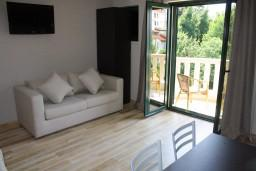 Гостиная. Черногория, Игало : Апартамент с отдельной спальней, с балконом и видом на сад