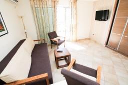 Гостиная. Черногория, Петровац : Апартаменты с террасой, 30 метров от пляжа, с балконом с видом на море