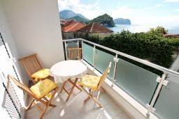 Вид на море. Черногория, Петровац : Апартаменты с террасой, 30 метров от пляжа, с балконом с видом на море