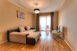 Гостиная. Черногория, Будва : Современный апартамент с гостиной, четырмя спальнями, тремя ванными комнатами и балконом с видом на море