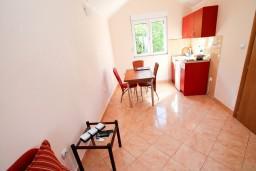 Кухня. Черногория, Костаньица : Апартамент с отдельной спальней, с балконом с шикарным видом на залив, 10 метров до моря