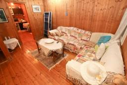 Гостиная. Черногория, Ада Бояна : Деревянный домик на Ада Бояне с большой террасой площадью 40м2, предоставляется лодка, лежаки