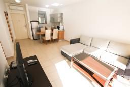 Гостиная. Черногория, Петровац : Современный апартамент для 4-6 человек, 2 спальни