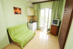 Гостиная. Черногория, Нивице : Апартамент с отдельной спальней, с балконом с видом на море